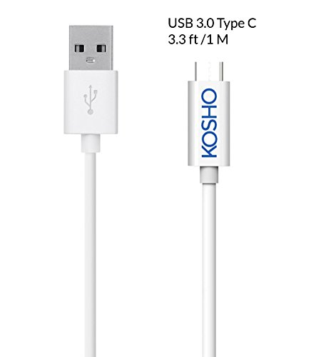 Type C, Kosho 3.3ft / 1M USB Type C Cable With Reversible Connector for Nexus 5X 6P, OnePlus 2, New Macbook 12 inch, Google ChromeBook Pixel, Pixel C, and More (White) [Frustration-Free Packaging]