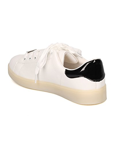 Up Alrisco Two Party Casual by Light Sneaker Leatherette LED White Black Women Sneaker Tone Festival GF41 Chargeable qgw4Ctg