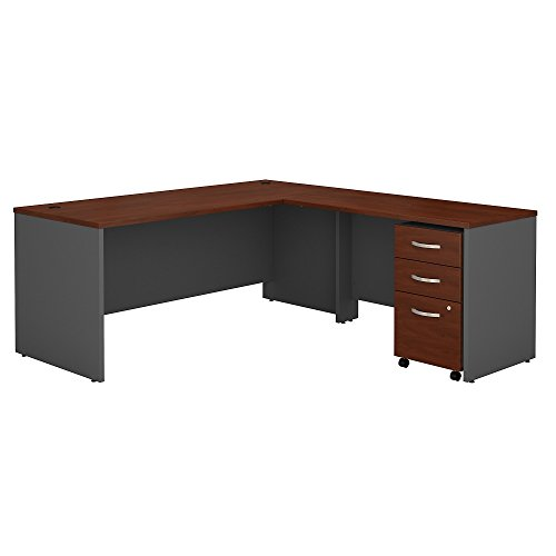 Bush Business Furniture SRC001HCSU Series C 72W L Shaped Desk with 48W Return and Mobile File Cabinet, Hansen Cherry