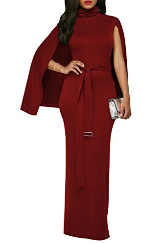 LaSuiveur Womens Drape Neck Cocktail Formal Dress With Belt Wine Red S