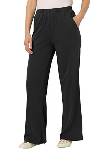 Women's Plus Size 7-Day Knit Pants With Wide Leg Black,2X