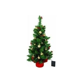 2 battery operated led tabletop christmas tree with red berries and gold ornaments - Battery Operated Christmas Trees