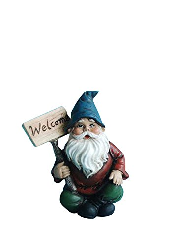 Hi-Line Gift Ltd Fairy Garden Gnome with Welcome Sign (Ltd Garden)