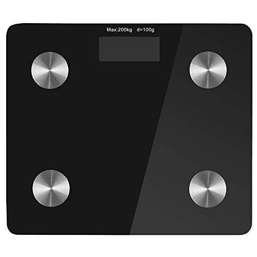 Bathroom 440 Lb Scale (Digital Bathroom Weight Scale, Electronic Smart Bmi Fat Scale with Wifi & Bluetooth for Home Bath Weighing Measuring Scale, Max.440LBS Black)