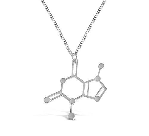 Rosa Vila Caffeine Molecule Necklace  Chemistry Lovers Necklace  Novelty Coffee Lover Jewelry For Women  Science Geek Necklace  19  Chain  Rv2  Silver Tone