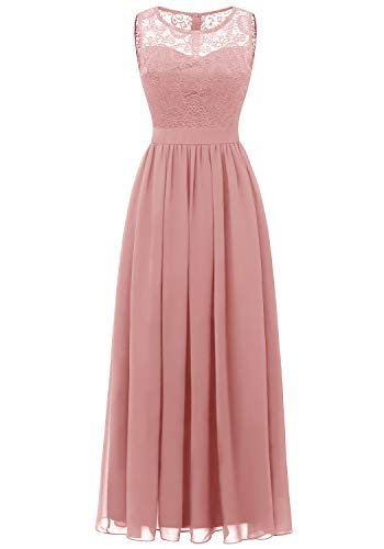 (Dressystar 0046 Lace Chiffon Bridesmaid Dress Sleeveless Formal Wedding Party Dress Blush 2XL)