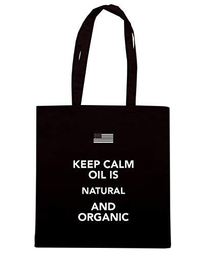 Speed Shirt Borsa Shopper Nera TKC2963 KEEP CALM OIL IS NATURAL AND ORGANIC
