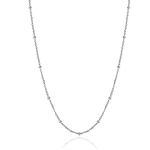 """925 Sterling Silver Beaded Chain Satellite Chains Necklace Ball Chain Cable Oval Link for Jewelry Making (20"""")"""