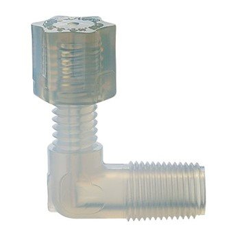 "Parker Hannifin Compression Threaded Adapter Elbow, 1/8"" tubing OD x 1/4"" Male NPT"