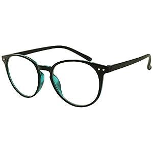 Original Classic Round Vintage Prescription Magnification Reader Eye Glasses Rx Power Strength +150 +175 +200 +2.25 +250 +300 (Black Blue, +1.25)