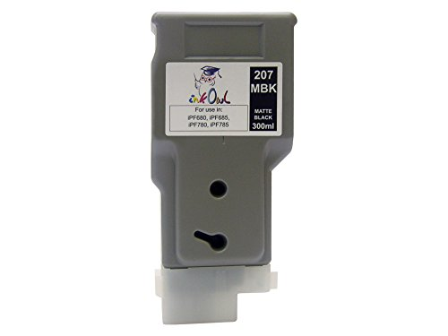 InkOwl - Compatible Ink Cartridge Replacement for CANON PFI-207MBK (300ml, matte black) - iPF680, iPF685, iPF780, iPF785 printers