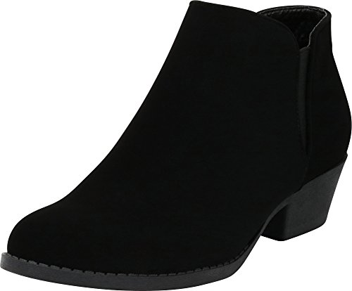 94b449fc4eba Cambridge Select Women s Round Toe Stretch Slip-On Chunky Stacked Block  Heel Ankle Bootie