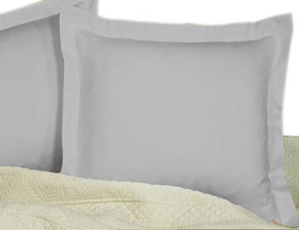 Aayukit European Shams Set of 2 Shams White 500 Thread Count 100/% Egyptian Cotton European 26x 26, Silver Gray Solid
