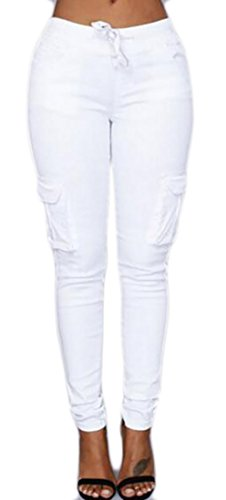 Cromoncent Womens Basic Stretch Drawstring Skinny Pants Cargo Jogger Pants