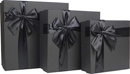Cypress Lane Square Rigid Gift Box with Ribbon, 11 inches, a Nested Set of 3 (Black)