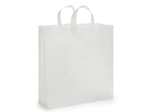 Pack Of 200, Queen Size 16 x 6 x 16'' Solid Clear Frosted Plastic 3 Mil Shopping Bags W/6 Mil Handle by Generic