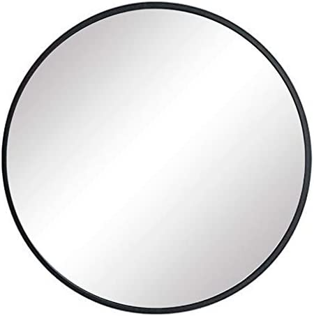 FANYUSHOW Large Simple Round Metal Frame Mirror, 24 Wall-Mounted Mirror for Bedroom, Bathroom, Living Room, Entryway, Vanity Mirror, Black