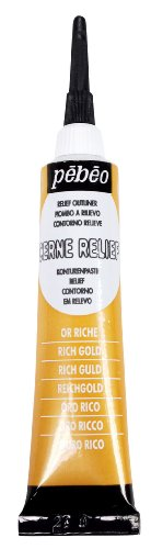 Pebeo Vitrail, Cerne Relief Dimensional Paint, 20 ml Tube with Nozzle - Rich Gold