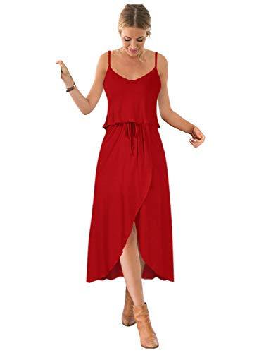 GlorySunshine Women Vintage V-Neck Split Side Maxi Long Evening Gown Dresses Upgrade (S, Deep red3)
