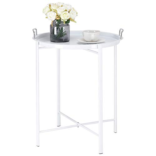 White Round Metal Tray Side Living Room Coffee End Table Nightstand Table Accent End Side Bedside Table Storage Display Stand(U.S. Stock) ()