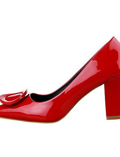 GGX/ Damen-High Heels-Lässig-Lackleder-Blockabsatz-Absätze / Spitzschuh / Geschlossene Zehe-Schwarz / Rot black-us6 / eu36 / uk4 / cn36
