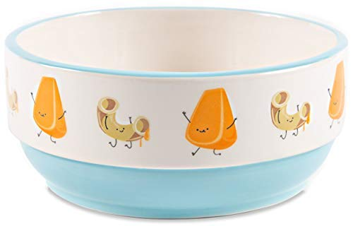 Pavilion Gift Company 74949 Pavilion-Mac & Cheese-Patterned 6.25 Inch Light Blue Ceramic Snack Bowl, 6.25