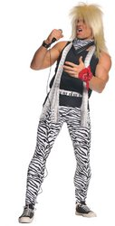 N Roll Rock Costume (Underwraps Men's 80's Rocker, Zebra/Black, One)
