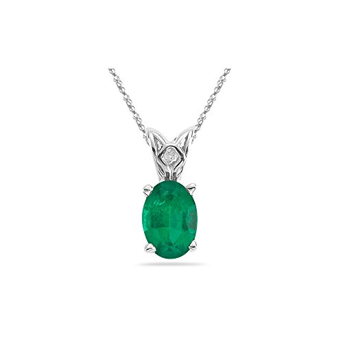 0.84-1.35 Cts of 8x6 mm AA Oval Natural Emerald Scroll Solitaire Pendant in Platinum