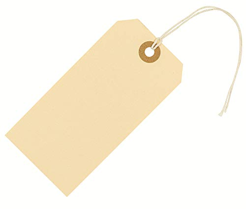 "EZdom Manila Shipping Tags with String Ties Attached 4 3/4"" x 2 3/8"" (12 x 6 cm) Box of 100 Blank Strung Paper Hang Tag Labels #5"