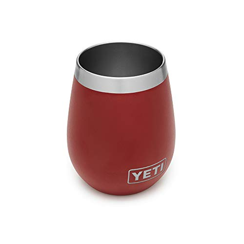(YETI Rambler 10 oz Stainless Steel Vacuum Insulated Wine Tumbler, Brick Red)