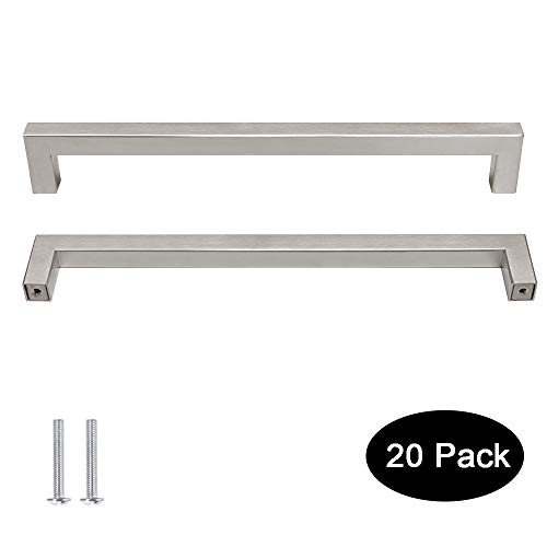 - 20 pack Probrico 1/2 in Stainless Steel Square Corner Bar Kitchen Cabinet Door Handles Brusehd Satin Nickel Hole Centers 8-4/5 inch 224mm