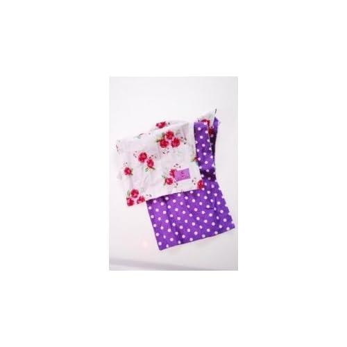 Écharpe pour enfants avec fleurs roses & violet/blanc à carreaux 100 % coton de prince & pRINZESSCHEN collection