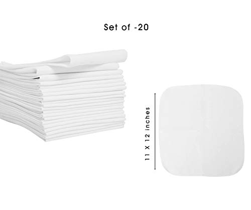 Reusable Napkins - Cloth Napkin White - Table Napkins Cloth Cotton - Bulk Cotton Napkins - Kids Snack Napkins - Lunch Bag Napkins (set of 20, (11 x 12 Reusable napkin))