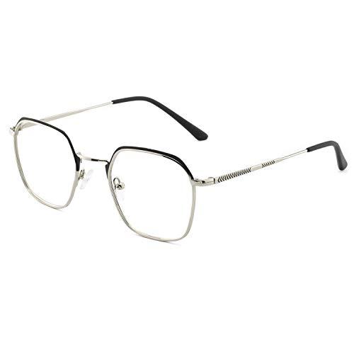 OCCI CHIARI Women's Glasses Frame Oversized Non Prescription Metal Eyeglasses Optical Eyewear (Black+Silver 50-21-145)