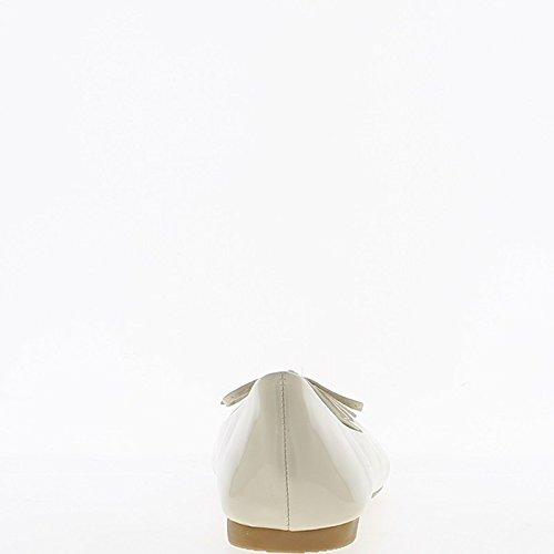 Ballerina Wohnungen Beige lackiert mit Endknoten und Köper Band 1 cm