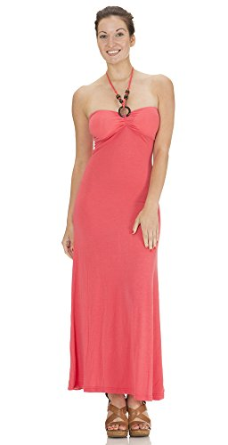 Beaded Halter Maxi Dress ((74911BR) Classic Designs Womens Beaded Halter Maxi Dress in Spun Spandex in Coral Size: S)