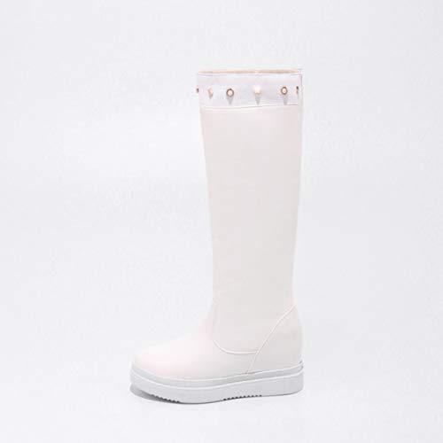 blanc à compensés blanc Warm femmes noir Snow pour talons compensées Bottes Dandanjie Chaussures rouge Winter Calf 37eu xfAg0gqwH6