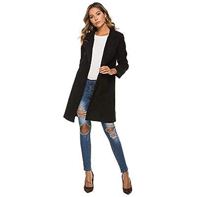 Milky Way Women's Double Breasted Woollen Coat Cloth Long Jacket Overcoat Cuffs Trench Outerwear Pea Wallker Coat Outwear: Clothing