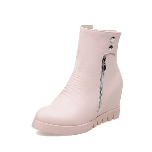 Allhqfashion Women's Zipper High-Heels PU Solid Low-top Boots Pink JmtAv3aQ1