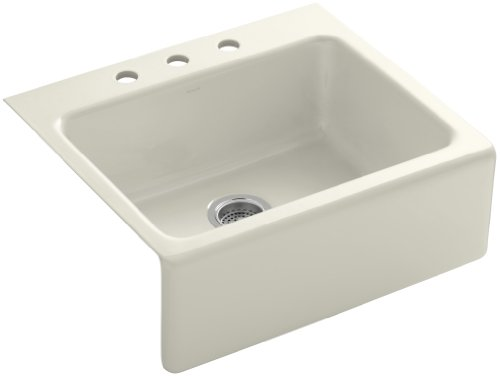 Kohler K-6573-3-96 Alcott Apron-Front, Tile-In Kitchen Sink with Three-Hole Faucet Drilling, Biscuit