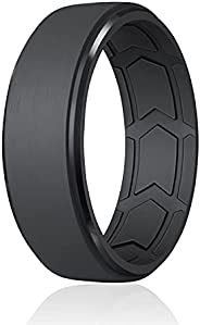 ROQ Breathable Silicone Wedding Bands for Men - Step Beveled Edge Design Silicone Ring with Inner Arrow Shape