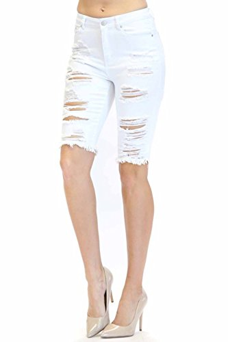 TwiinSisters Women's Casual Destroyed Mid Rise Twill Bermuda Shorts with Comfort Stretch (XX-Large, White #rss2027)