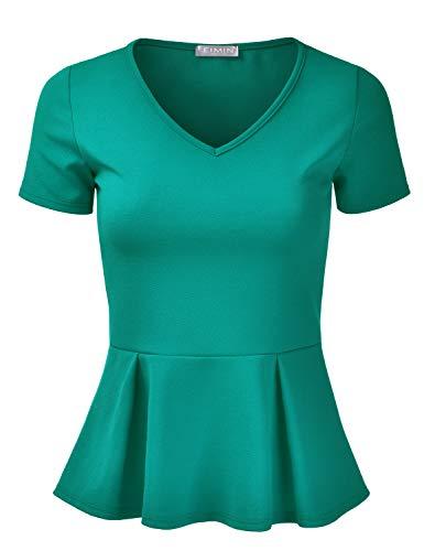EIMIN Women's Short Sleeve V-Neck Stretchy Flare Peplum Blouse Top KellyGreen S