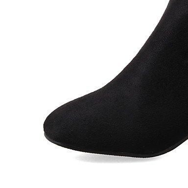 Simili Bottines Cheville Pointe bûche À Desy La Hiver Automne Chaussures Femme Bottes Ronde Carré De Bottes Cuir qwOwAftn8
