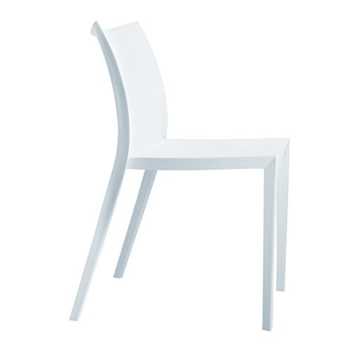 Modern Contemporary Dining Chair, White, Plastic by America Luxury - Chairs