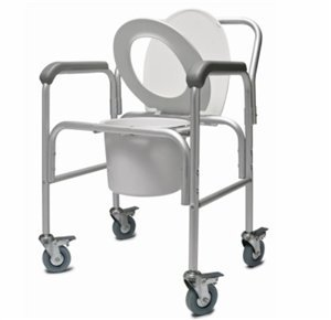 Lumex 2215B-2 3-in-1 Aluminum Commode with Back Bar and Casters