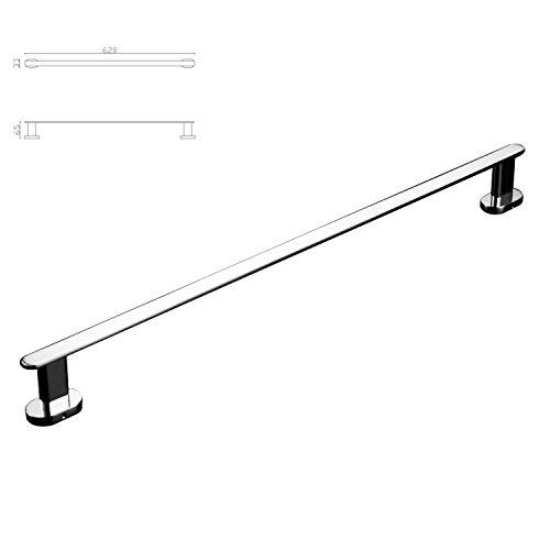 Luxury 24'' Solid Brass Single Bathroom Towel Bar Rail Rack, Towel Holder Chrome Finished Mirror Polishing Wall Mounted Bathroom Accessories by ThinkTop (Image #2)