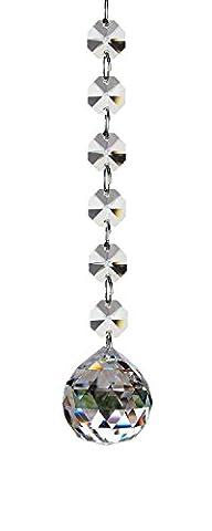 Fushing 2 Pcs 1ft Crystal Glass Ball Chandelier Prisms Pendants Parts Beads Strands (30mm) (Crystal Prism Pendant)