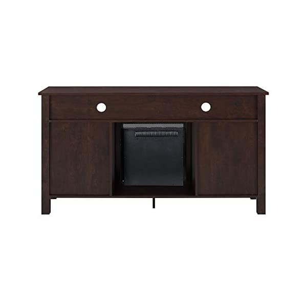 Walker Edison Glenwood Rustic Farmhouse Glass Door Highboy Fireplace TV Stand for TVs up to 65 Inches, 58 Inch, Brown