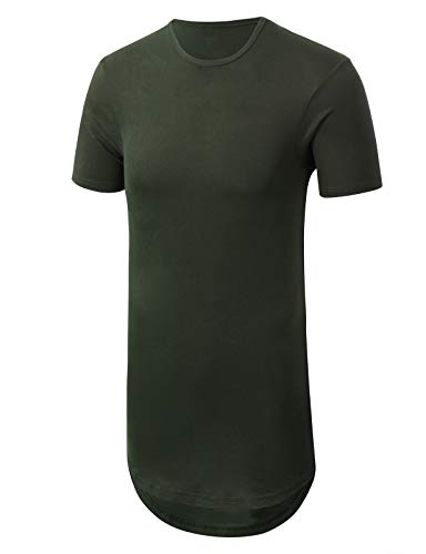 JD Apparel Mens Basic Hipster Longline Drop Tail T-Shirts X Large - Tail Olive